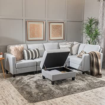 Great Carolina Light Grey Fabric Sectional Couch With Storage Ottoman