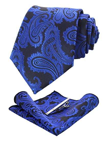 16eb1b2ab8b2 Amazon.com: JEMYGINS Blue Paisley Tie and Pocket Square, Silk Necktie with  Tie Clip Sets for Men (12): Clothing