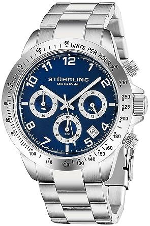 Stuhrling Original Mens Reloj Cronógrafo de Cuarzo Azul Reloj de Pulsera Deportivo con Taquímetro y Brazalete de Enlaces de Acero Inoxidable Sólido Cierre ...