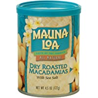 Mauna Loa Premium Hawaiian Roasted Macadamia Nuts, Dry Roasted with Sea Salt, 4.5 oz. Can (Pack of 3)