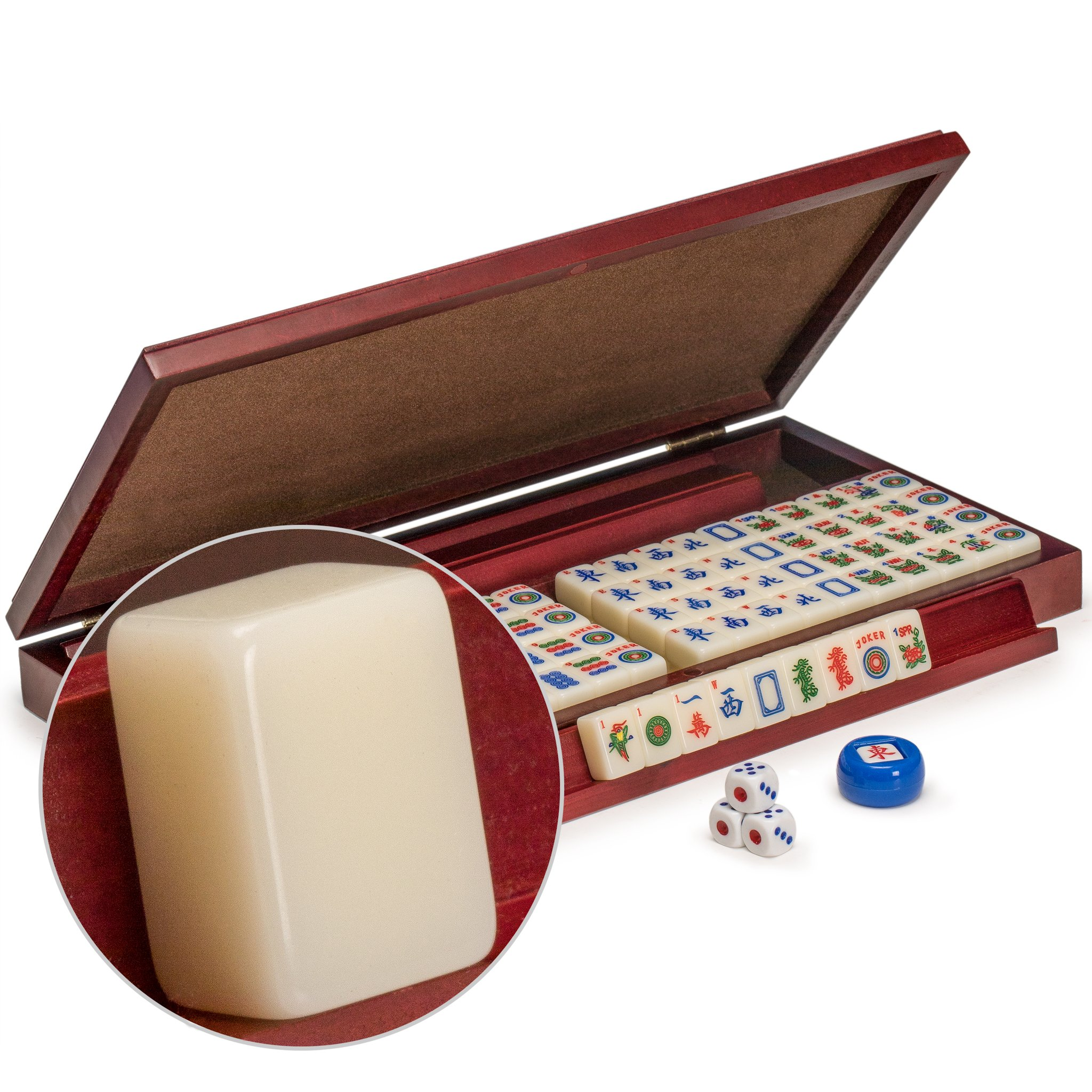 Yellow Mountain Imports American Mahjong Set, Mini Classic Tiles with Portable Vinyl Case - Four Wooden Racks, Dice, & Wind Indicator