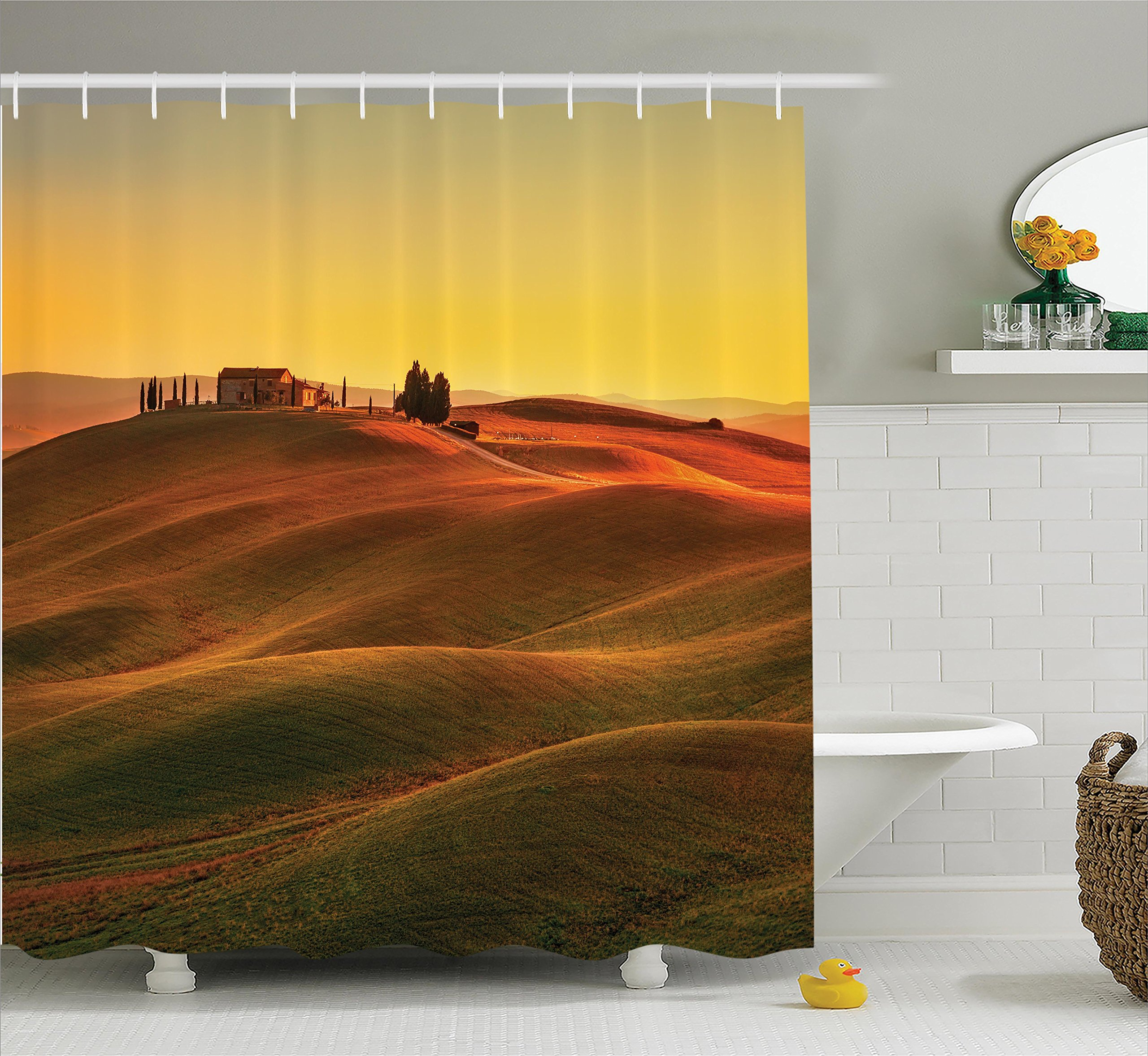 Ambesonne Tuscan Decor Shower Curtain Set, Rural Landscape of European Mediterranean Rural and Old House in Countryside Farm Print, Bathroom Accessories, 69W X 70L inches, Orange White