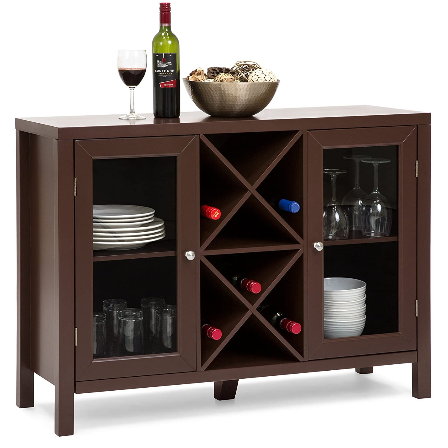 Best Choice Products Wooden Wine Rack Console Sideboard Table w/Storage - Black SKY4146