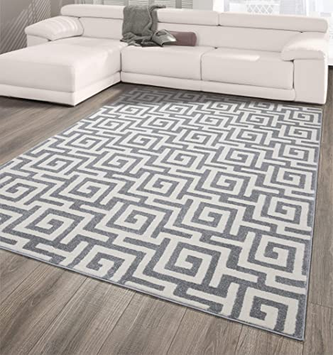 Ottomanson City Collection Modern Area Rug Contemporary Sculpted Effect Key Rug-5×7 5 3 X 7 3 , 5 3 X 7 3 , Light Grey Greek