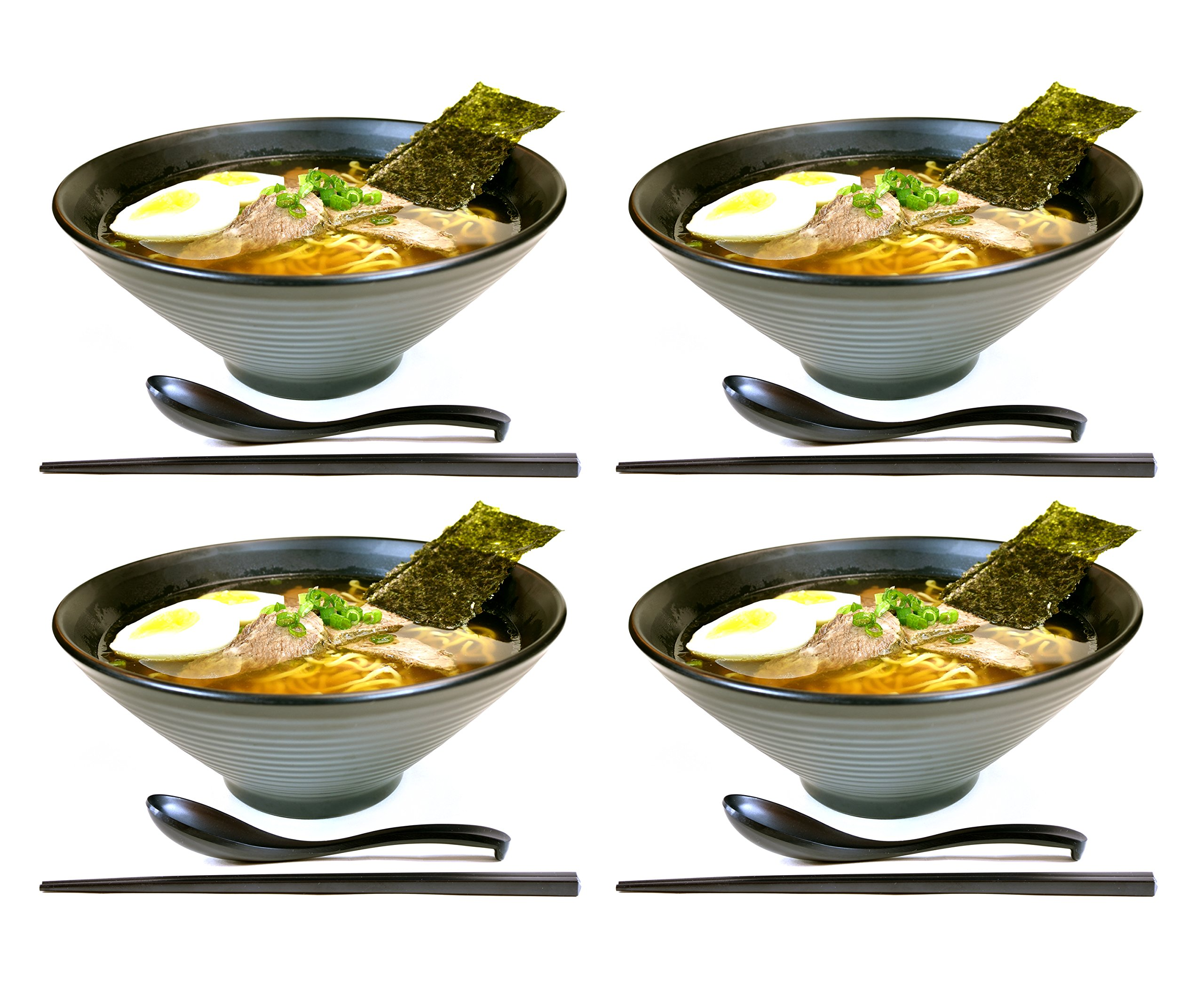 4 sets (12 piece) Large Japanese Ramen Noodle Soup Bowl Melamine Hard Plastic Dishware Set with Matching Spoon and Chopsticks for Udon Soba Pho Asian Noodles (4, Black)
