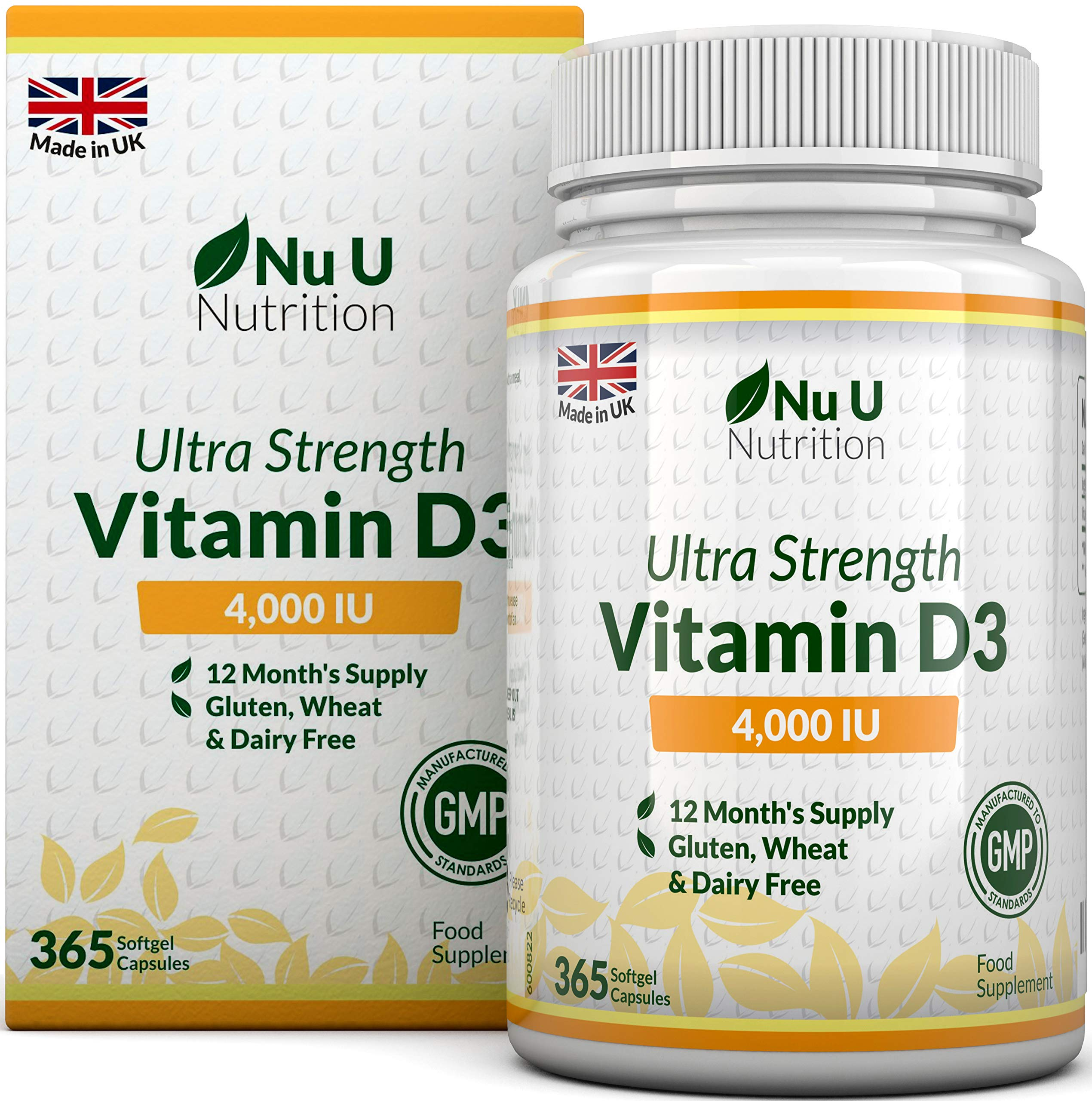 Vitamin D 4000 IU | 365 Softgel Capsules NOT Tablets - Full Year Supply | Easy to Swallow Quadruple Strength Vitamin D3 Supplement | Highly Bioavailable Cholecalciferol | Gluten & Dairy Free product image
