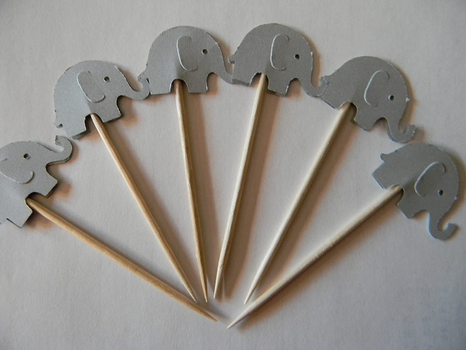 B017PA3F90 24 gray elephant elephants cupcake toppers food picks baby shower decor 91OmBZD2BvUL