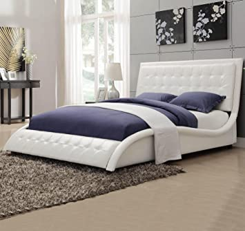 coaster 300372q tully modern queen bed white leather like upholstery - Modern Queen Bed Frame
