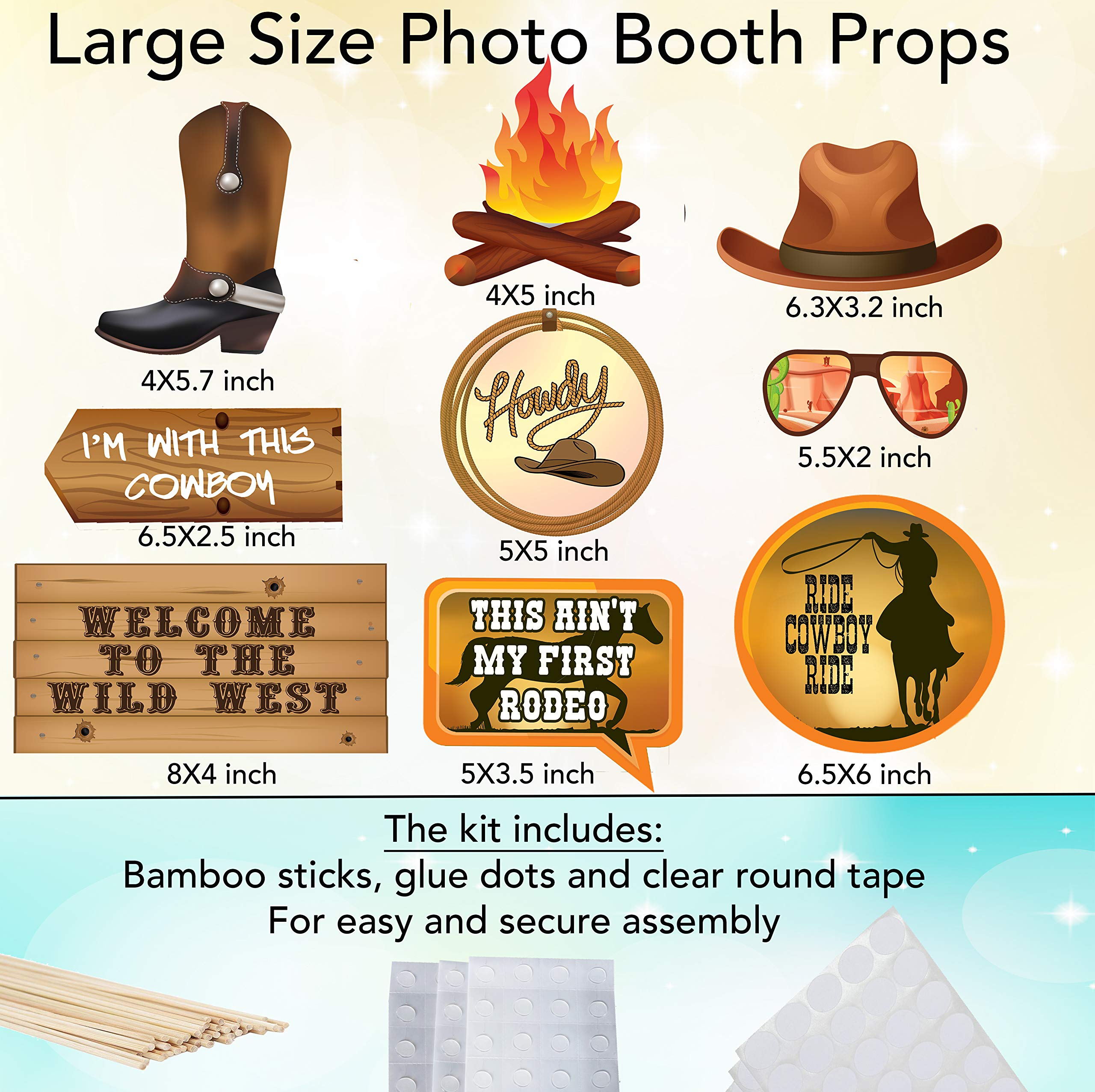 Western Photo Booth Props - Ultimate Cowgirl/Cowboy Party Decorations for Decorating Walls, Doors, Tables - 42 Large Colorful Photo Props Complete with Glue Dots and Bamboo Rods by Scapa Pro