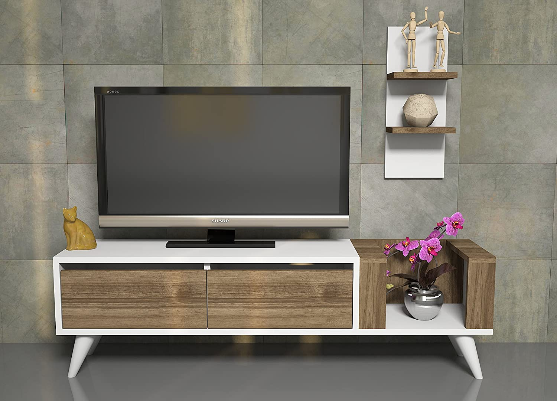 PERS Ensemble de meubles de salon - Blanc - Noyer - Meuble TV dans es couleurs brillantes avec étagère murale en