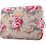 Kayond Peony Patterns Canvas Ultraportable Water-resistant 11 Inch for Laptop / Notebook Computer / Macbook Air / Macbook Pro Sleeve Case Bag Cover (11 inch, Beige)