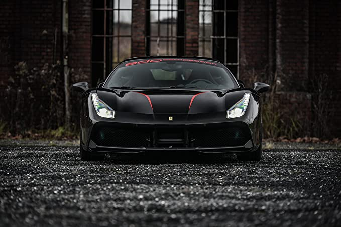 Amazon.com: Ferrari 488 GTB by Edo Competition (2016) Car Print on 10 Mil Archival Satin Paper Black Front Side Static View 11