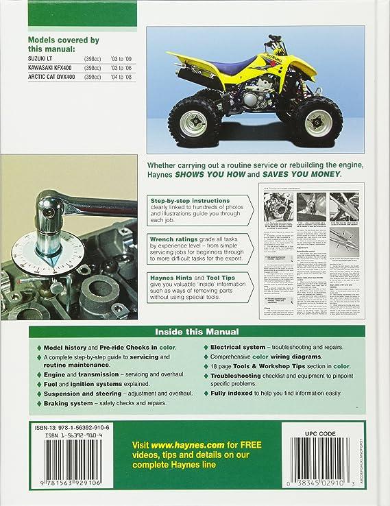 amazon com: suzuki/kawasaki arctic cat atvs 2003 to 2009: lt-z400, kfx400,  dvx400 (haynes repair manual): editors of haynes manuals: automotive