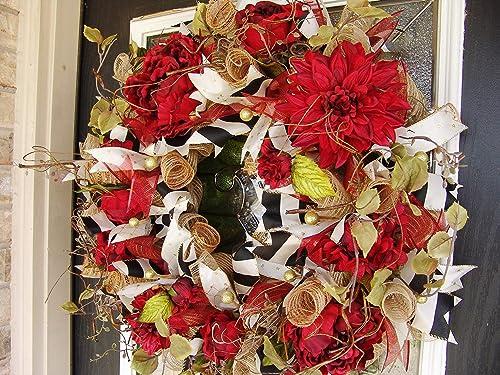 Deco Mesh Front Door Decor Wreaths. Dahlia Wreath Wreaths for Front Door Spring Wreath Front Door Wreath Fall Wreath Floral Wreath