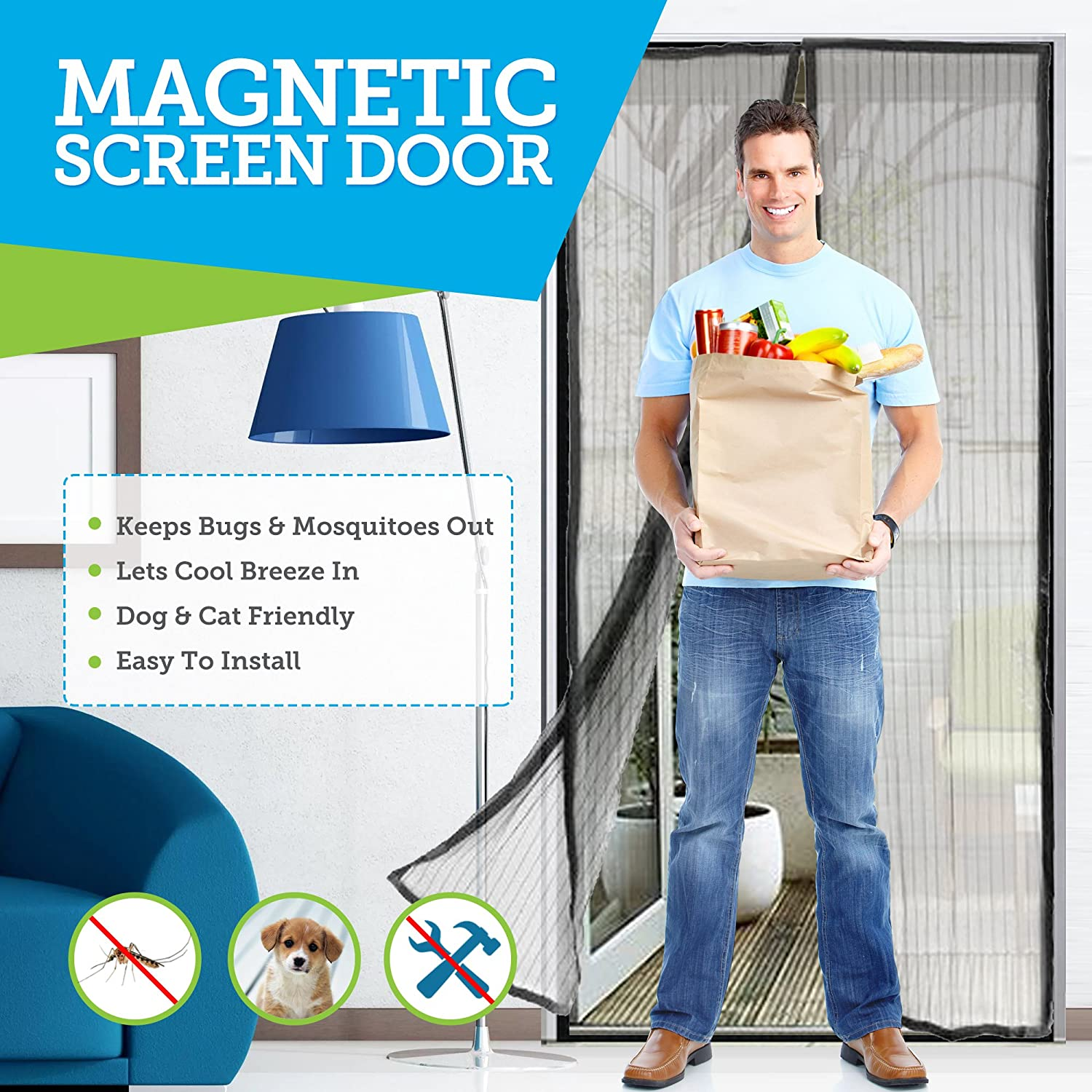 Ultimate Magnetic Screen Door - Full Frame Hook and Look Fasteners to Ensure All Bugs are Kept Out - 60g Screen Guaranteeing Durability - Door Screens with Magnets
