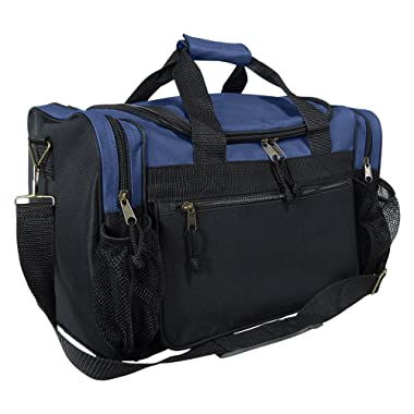 DALIX 17  Duffle Bag Dual Front Mesh Pockets (Black Gold Gray Dark Green Navy Blue Maroon Royal Blue Orange Pink Purple Red White