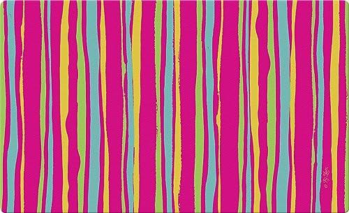 Toland Home Garden Pink Stripes 18 x 30 Inch Decorative Floor Mat Colorful Stripe Doormat