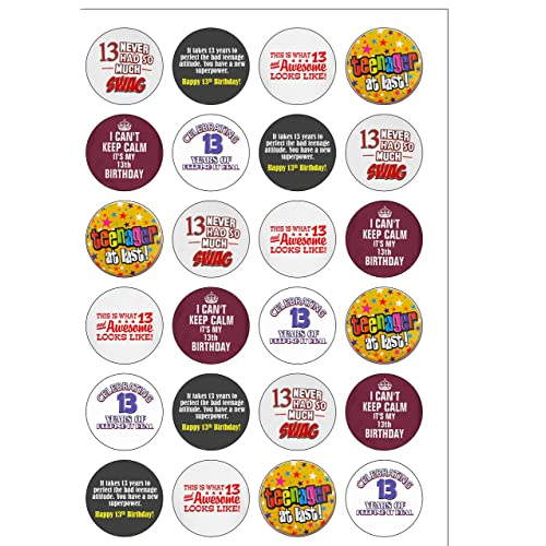 24 Precut Age 13 Thirteen 13th Thirteenth Birthday Edible Wafer Paper Cake Toppers Decorations