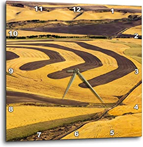 3dRose Aerial of Harvest in The Rolling Hills of The Palouse Region. - Wall Clocks (DPP_333017_3)