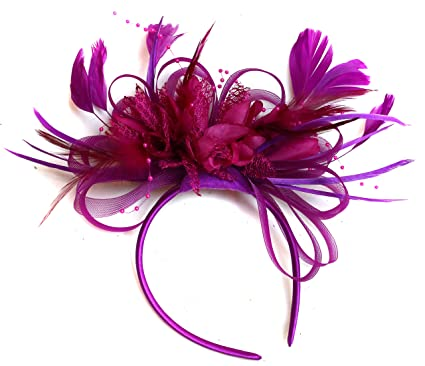 Plum Magenta and Fuchsia Hot Pink Feather Hair Fascinator Headband ... 7301cd59ffc