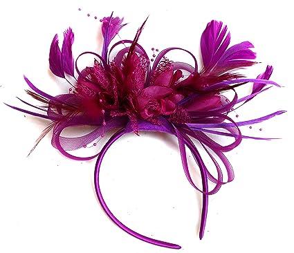 Plum Magenta and Fuchsia Hot Pink Feather Hair Fascinator Headband ... e51fc9ac0f5