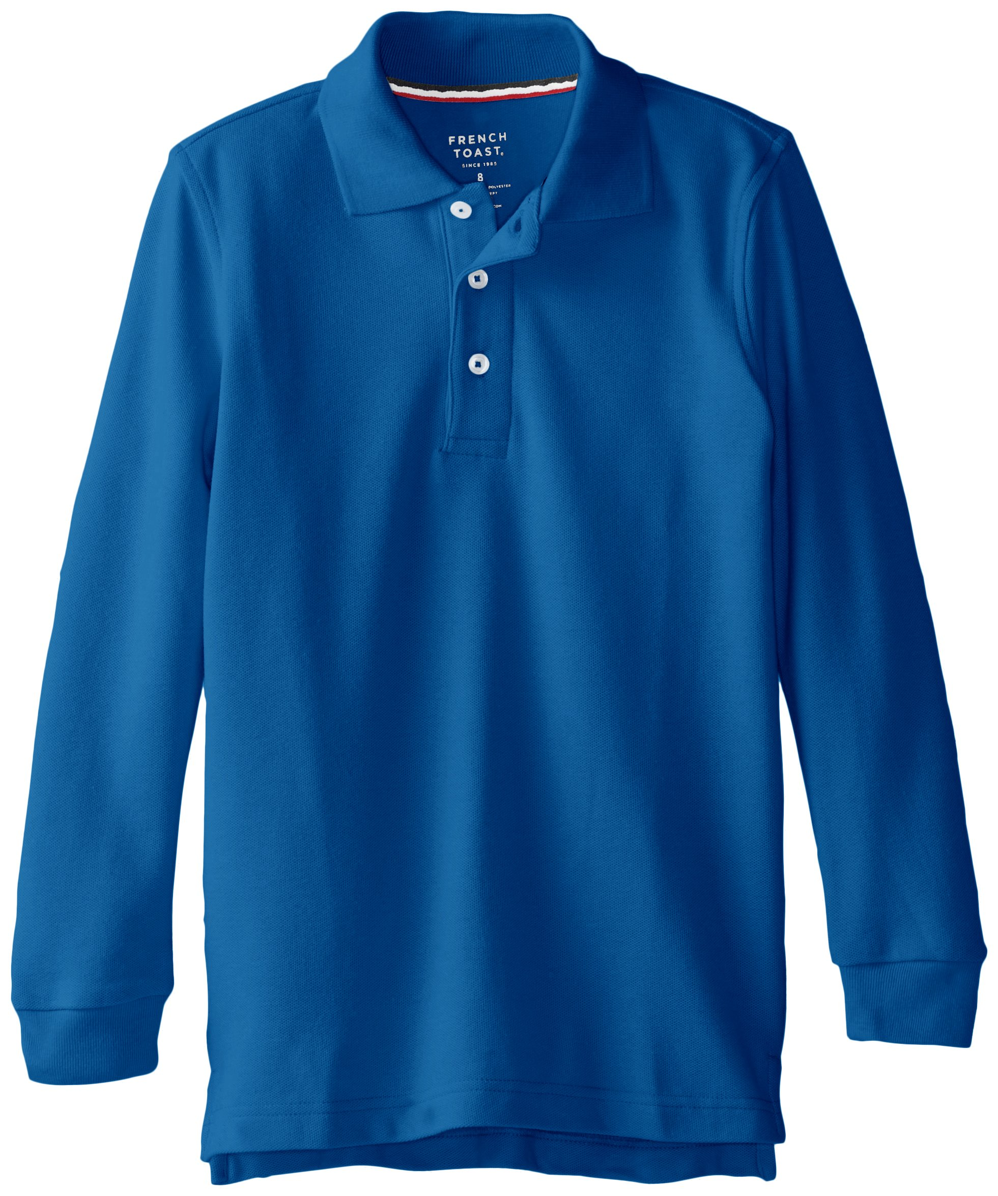 French Toast Big Boys' Long Sleeve Pique Polo, Royal, 10
