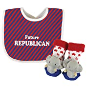 Stephan Baby Stripy Bib and Elephant Rattle Socks Gift Set, Future Republican