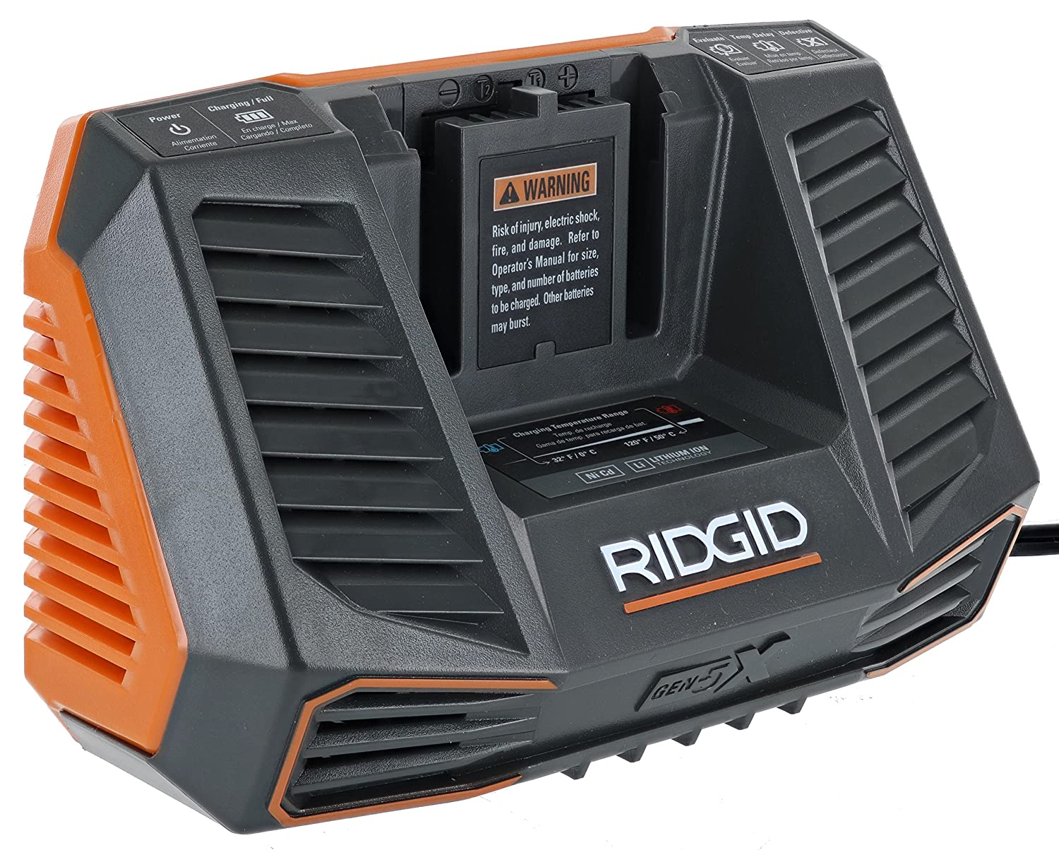 Ridgid R840095 Gen5X Genuine OEM Dual Chemistry Battery Charger for 18V lithium ion or NiCad batteries with Temperature Monitoring and Energy Saving ...
