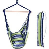 Large Deluxe Brazilian Hammock Chair KIT- Hanging Rope Swing - 2 45x45cm Pillows - Storage Bag - Steel Eye Hook - No Hammock Stand Required