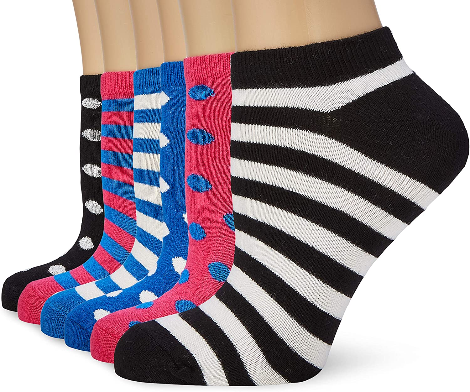 Pack de 6 FM London Bamboo Trainer Calcetines para Mujer