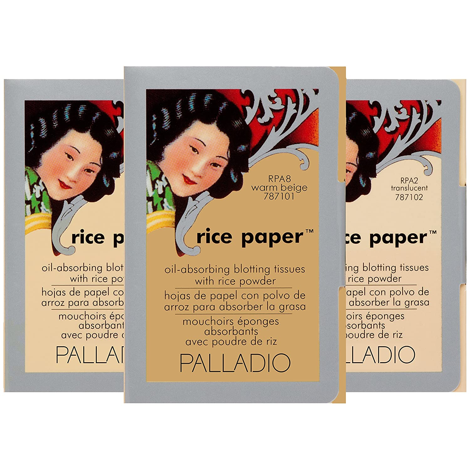 Palladio Rice Paper Tissues, Translucent/Natural/Warm Beige, 40 Sheets (Pack of 3), Face Blotting Sheets with Rice Powder Absorbs Oil, Helps Skin Stay Looking Fresh, Compact Size for Purse or Travel