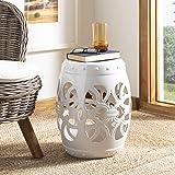 Safavieh Imperial Vine Ceramic Decorative Garden Stool, Antique White