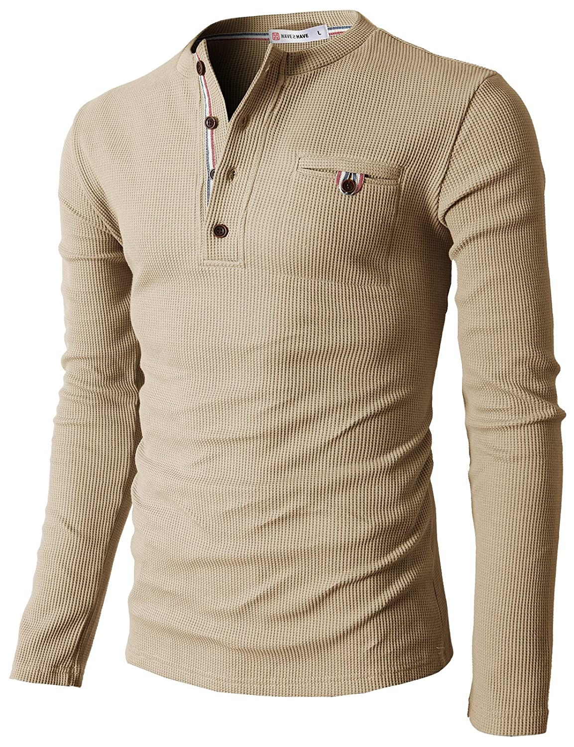 H2H Mens Casual Slim Fit Henley Shirts With Bound Pocket of Waffle ...