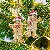 Mr & Mrs Gingerbread Man Hanging Christmas Tree Decoration Pair