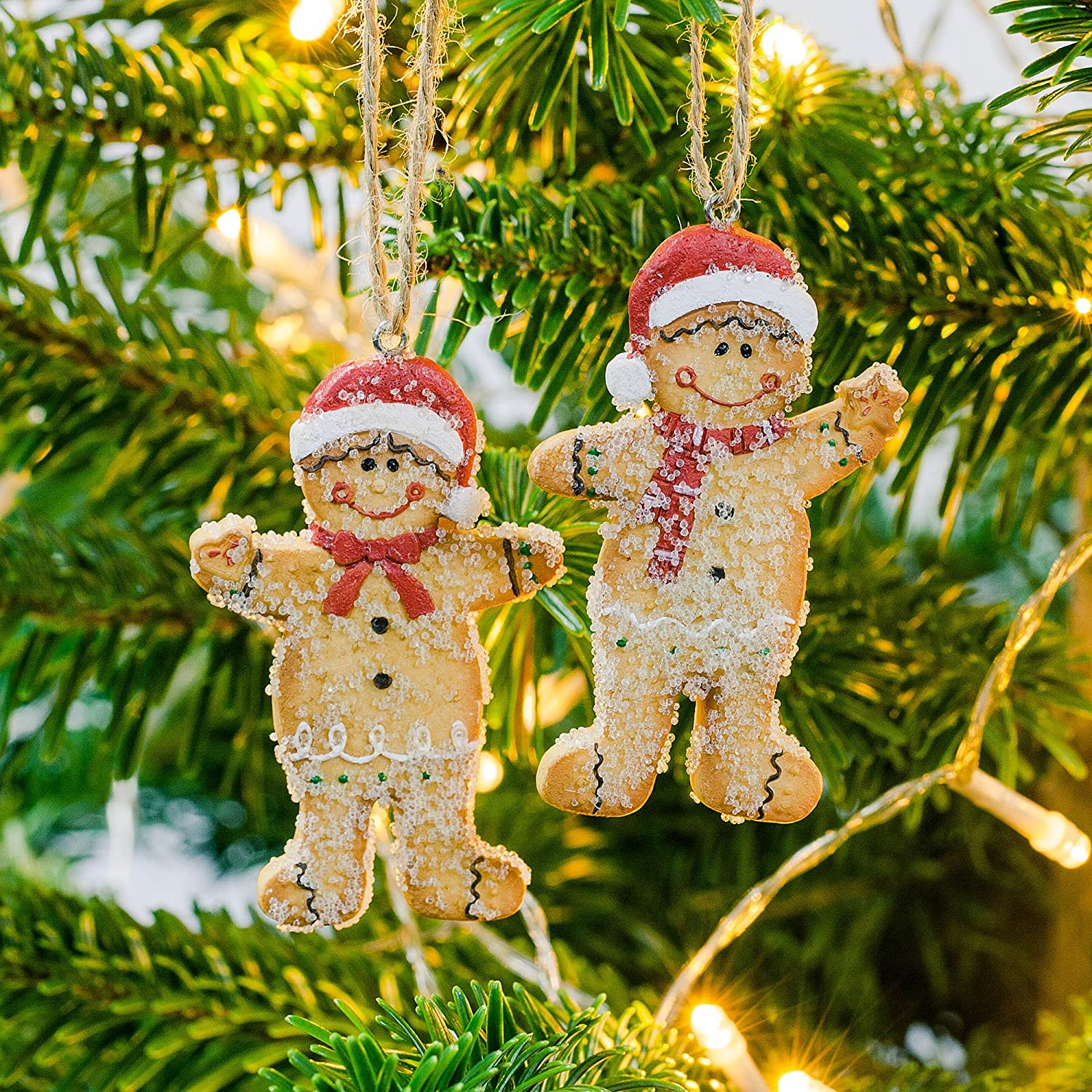 Mr & Mrs Gingerbread Man Hanging Christmas Tree Decoration Pair ...