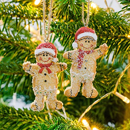 mr mrs gingerbread man hanging christmas tree decoration pair - Gingerbread Christmas Tree Decorations