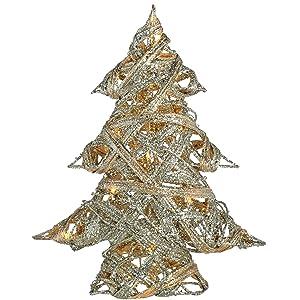 WeRChristmas Pre-Lit Plata Woven ratán Blanco cálido LED Árbol de Navidad con Purpurina Revestimiento, 33cm