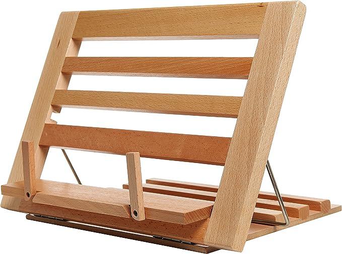 Countertop Folding Alder Wood Cookbook Holder Adjustable Tabletop Display Easel Stand For Books Ipads Kitchen Dining