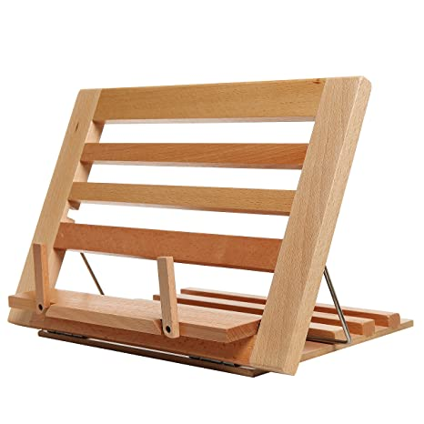 Amazoncom Countertop Folding Alder Wood Cookbook Holderadjustable