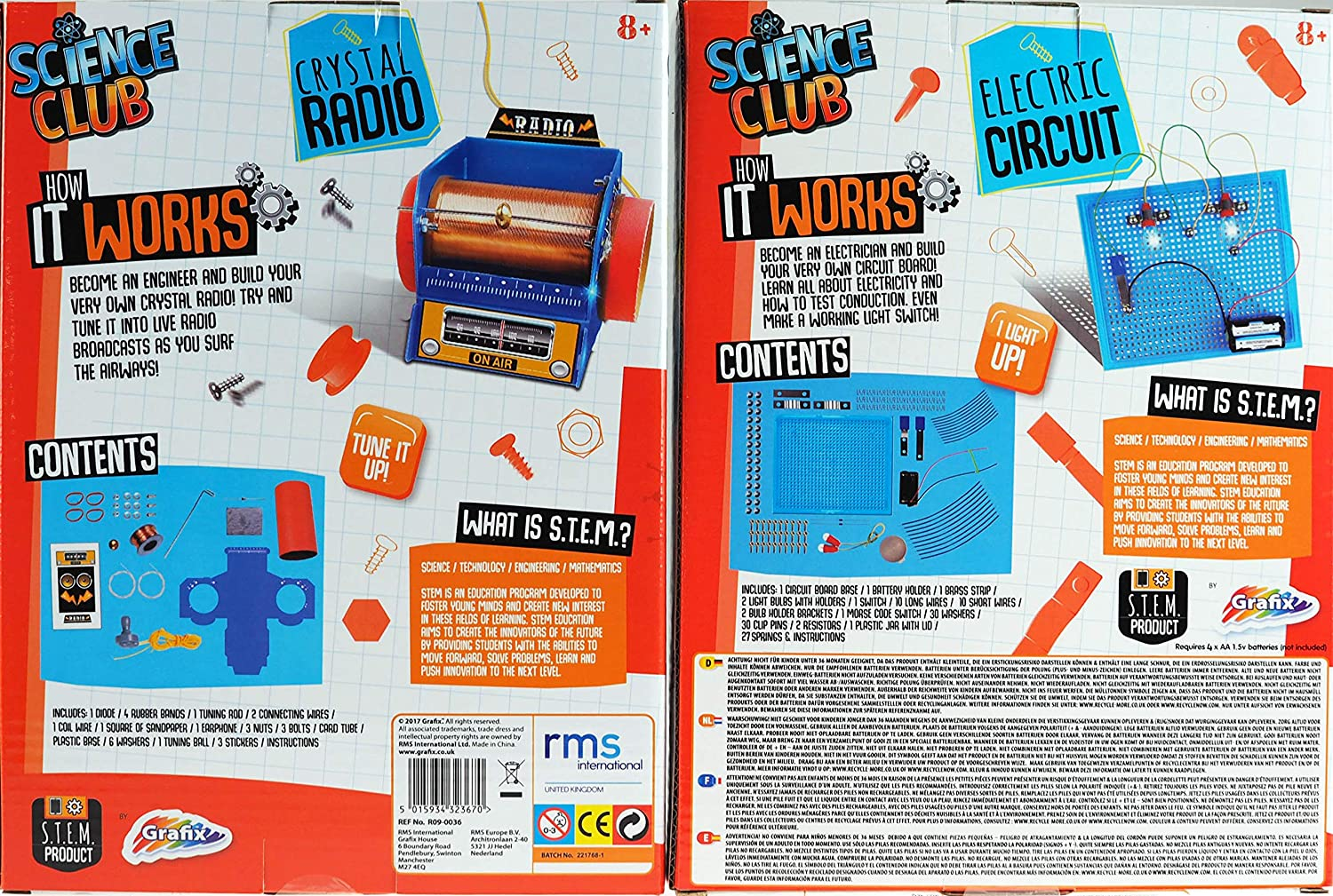 Set Of 2 Science Kits Build Your Own Crystal Radio Electric Circuit Older Boys Girls