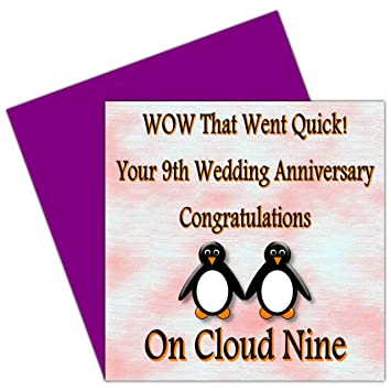On Your 9th Wedding Anniversary Card - 9 Years - Pottery ...