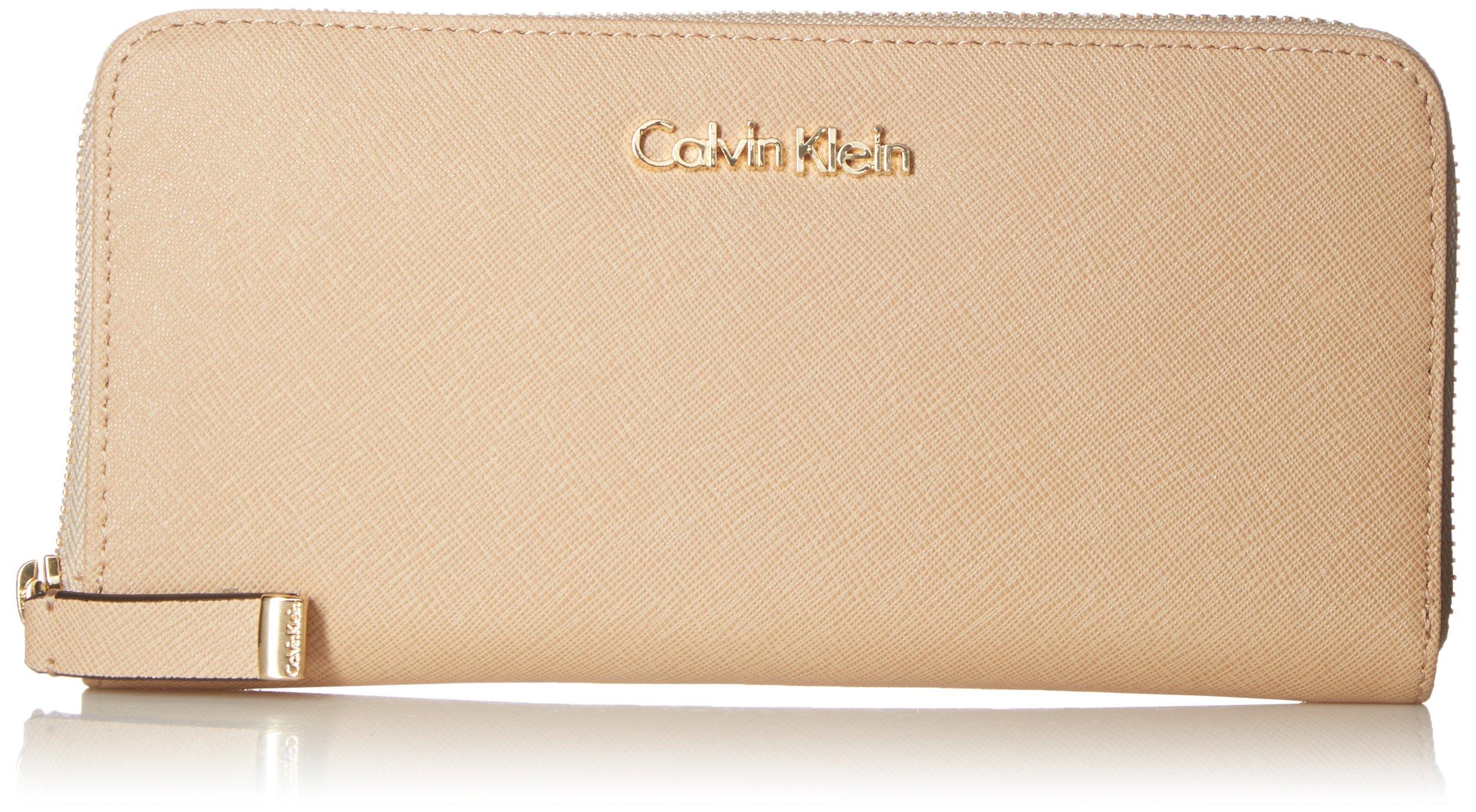 Calvin Klein SaffiaNo Zip Continental Wallet, Nude, One Size