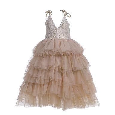 995cc77cc36 Flower Girls Tutu Lace Cake Dress Princess Birthday Party Dresses  (Champagne