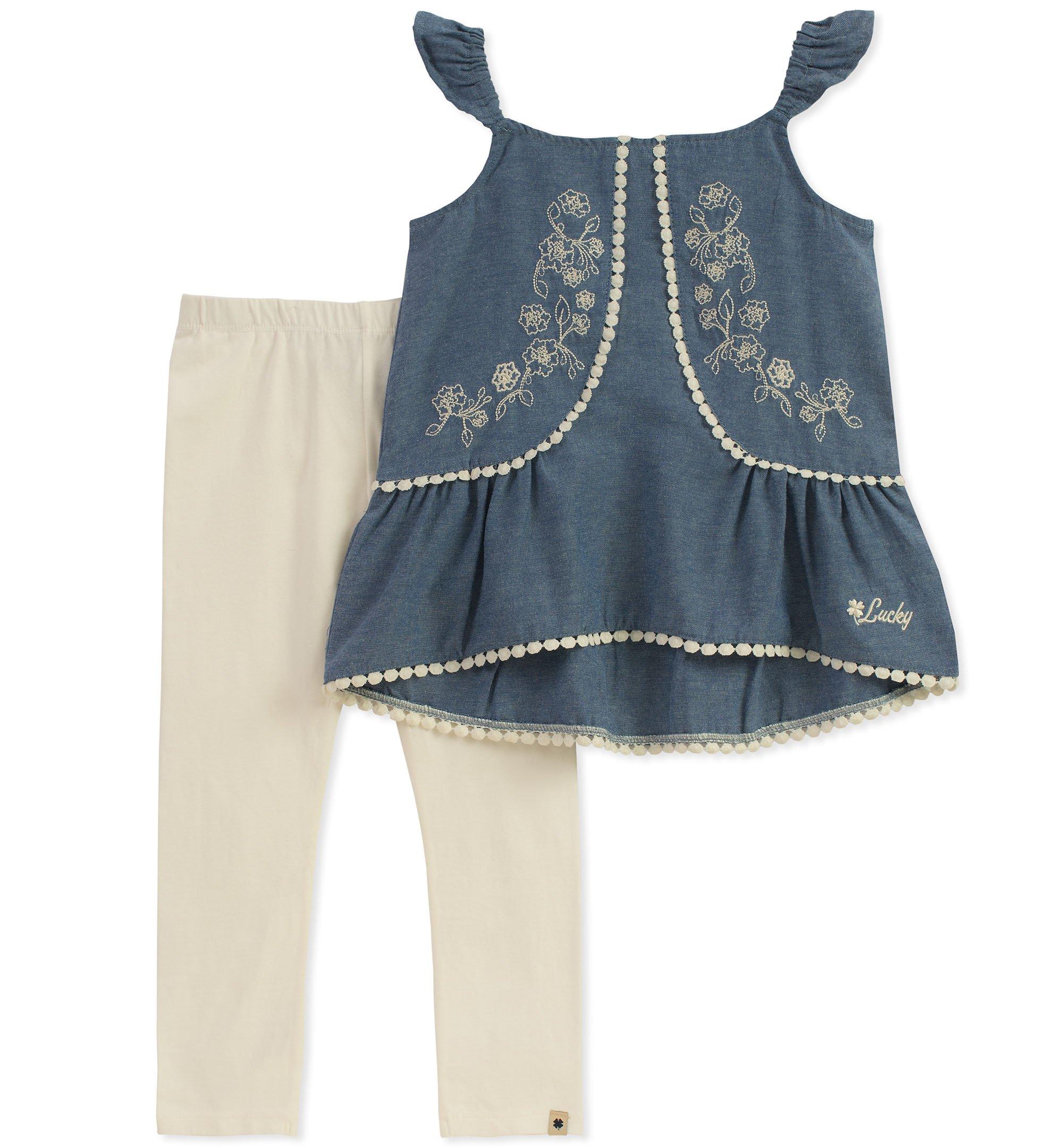 Lucky Brand Baby Girls Pants Set, Blue, 18M