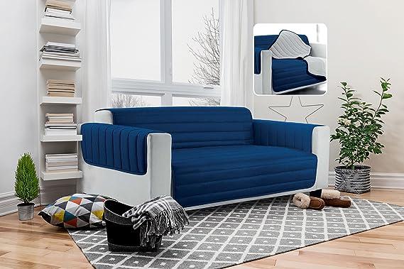 Italian Bed Linen Elegant Funda Protectora para Sofá, Microfibra, Blanco, 3 plazas
