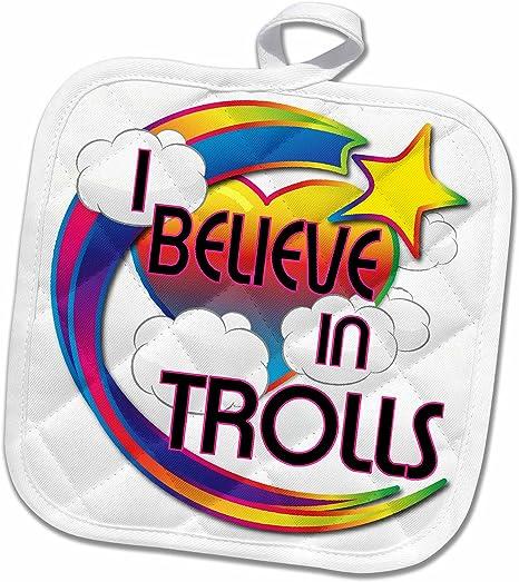 Amazon 3drose Dooni Designs Believe Inビリーブインドリーミービリーフデザイン I Believe In Trollsキュートデザイン 鍋つかみ 8x8 Potholder Phl 166972 1 鍋つかみ ミトン オンライン通販