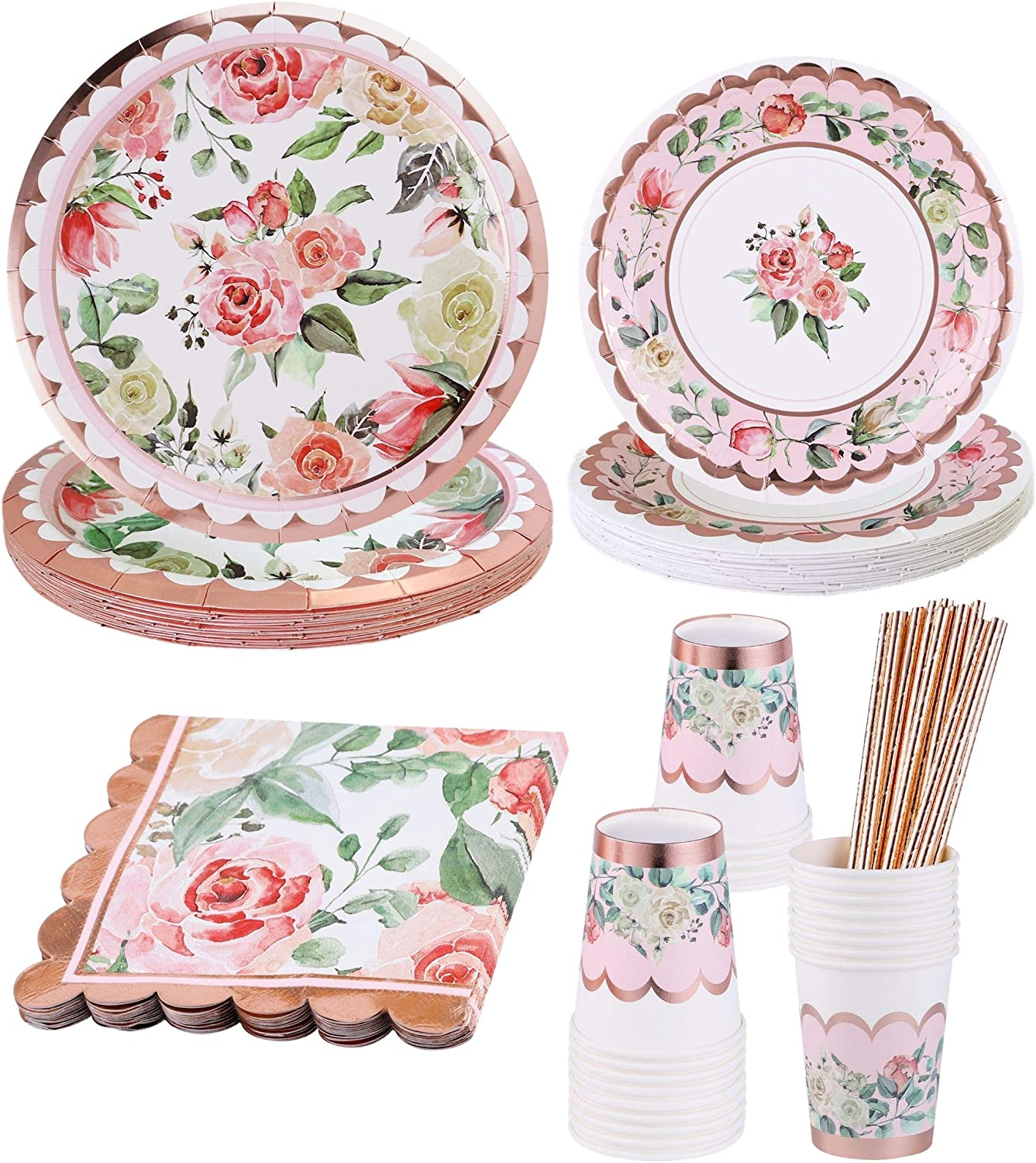 Vintage Floral Party Supplies Rose Gold– Serves 16 – Includes Floral Paper Plates Cups Napkins Straws for Baby Shower Plates Bridal Shower Wedding Shower Flower Birthday Decorations Garden Tea Party