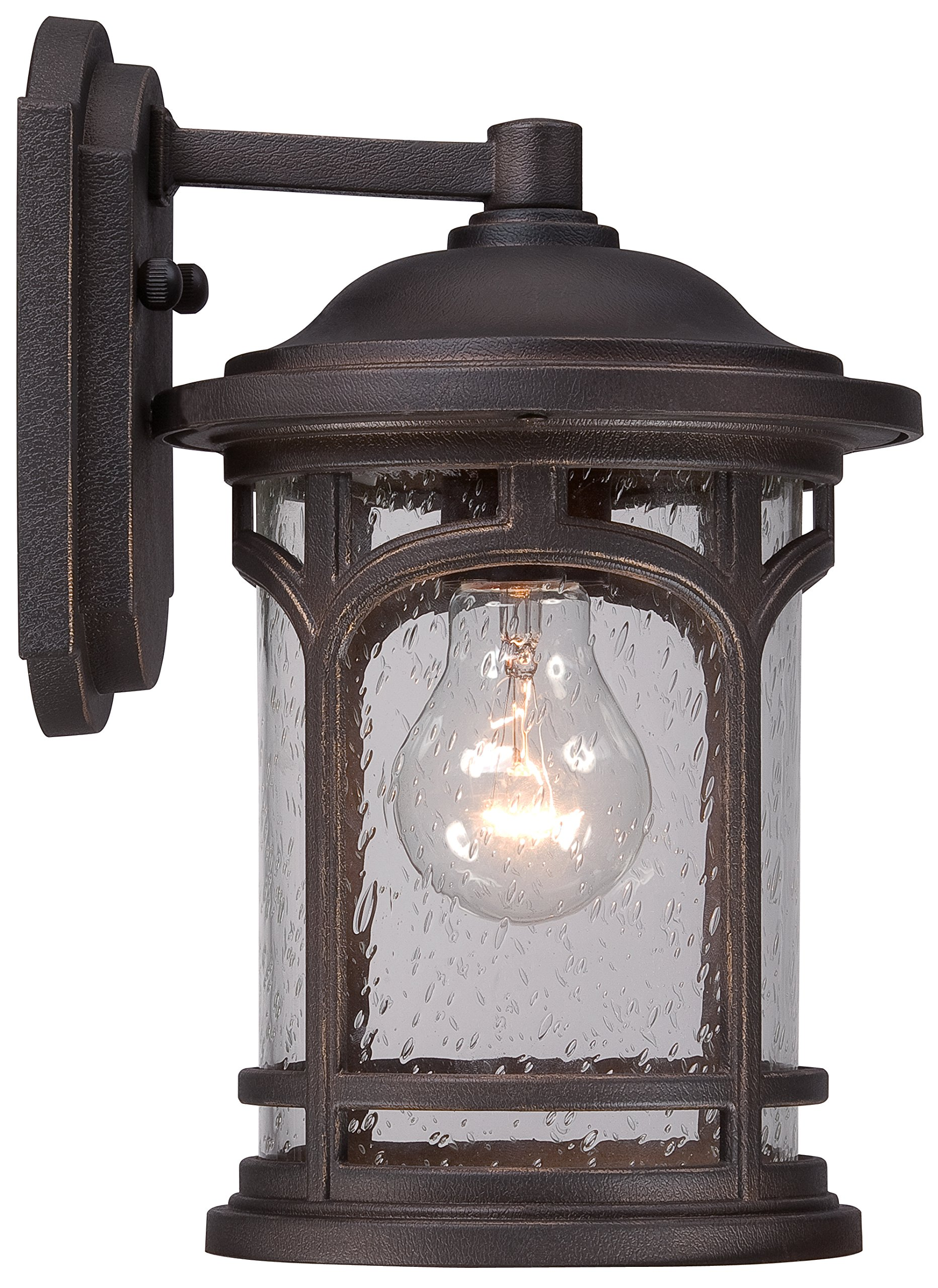 Luxury Rustic Outdoor Wall Light, Small Size: 11'' H x 7'' W, with Colonial Style Elements, Wrought Iron Design, Oil Rubbed Parisian Bronze Finish and Seeded Glass, UQL1101 by Urban Ambiance