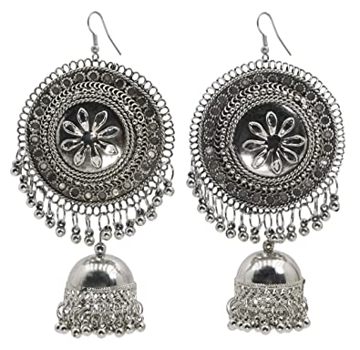 8b78785cd Buy BEATNIK Oxidized Silver Afghani Boho Tribal Large Chandbali Traditional  Jhumka/Jhumki Earrings for Women and Girls Online at Low Prices in India ...