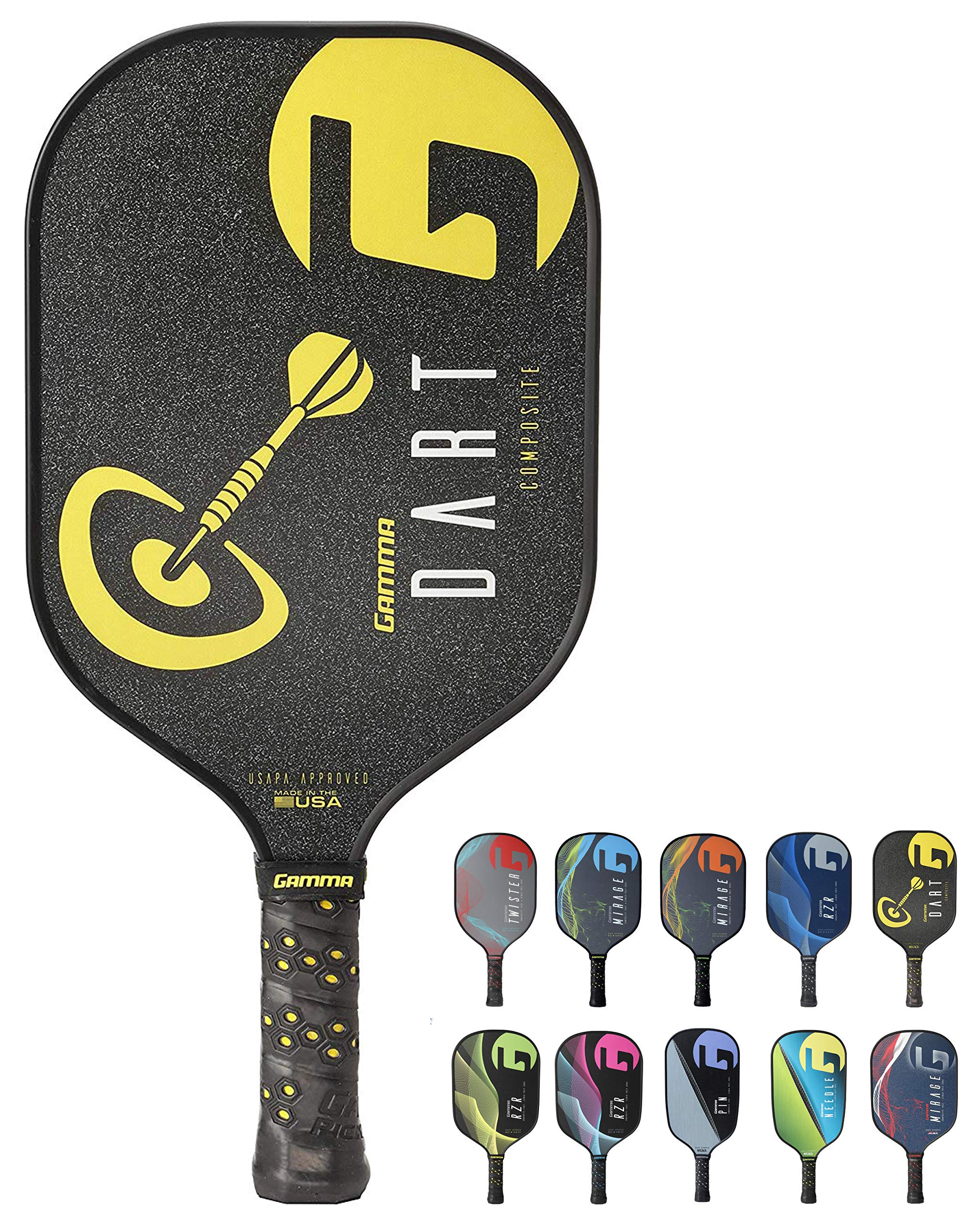 Gamma Dart Composite Pickleball Paddle: Pickle Ball Paddles for Indoor & Outdoor Play - USAPA Approved Racquet for Adults & Kids - Black/Yellow by Gamma (Image #1)